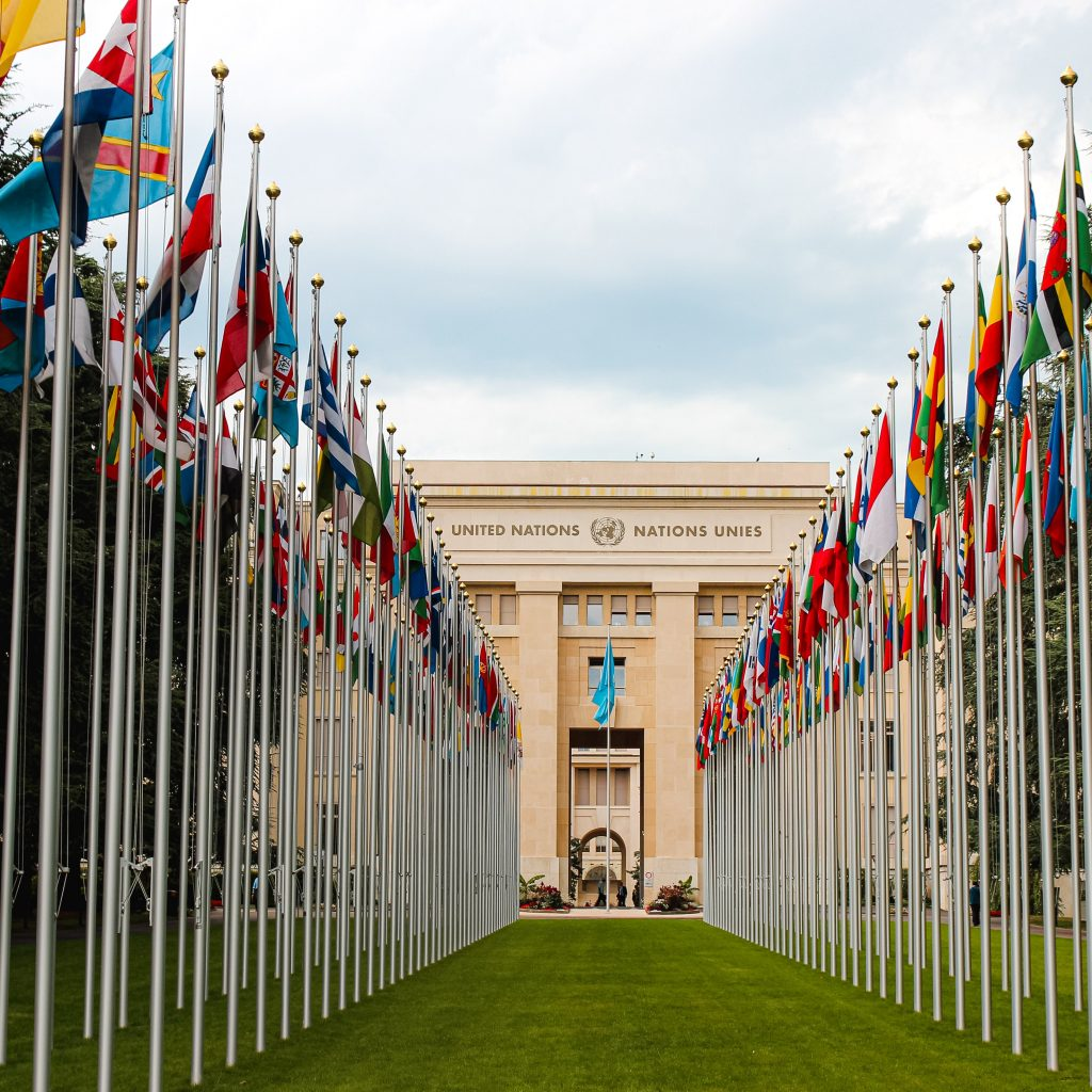 The United Nations building stands behind a row of international flags.