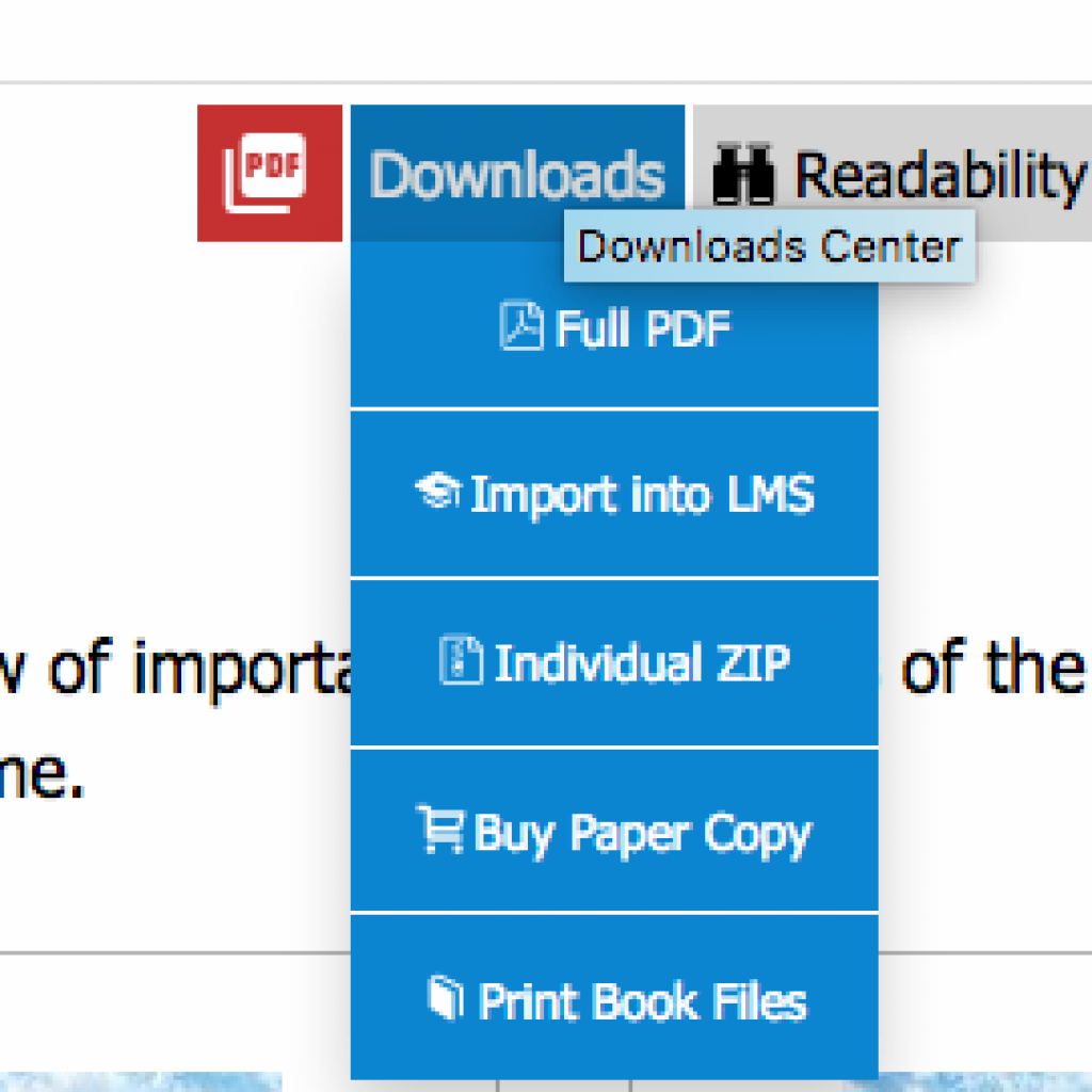 """LibreTexts Downloads Center menu - """"Import into LMS"""" is the 2nd option in the menu."""